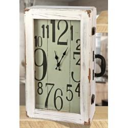 Orologio forma valigia vintage in legno. CM 30x14 H 50