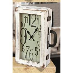 Orologio forma valigia vintage in legno. CM 20x10 H 34