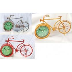 Orologio latta forma bicicletta. Ass 3 colori. CM 39x4 H 23