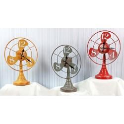 Orologio latta forma ventilatore. Ass 3 colori. CM 25x13 H 34