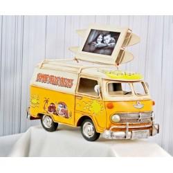 Salvadanaio e portafoto in latta forma furgoncino Volkswagen. CM 23x12 H 16. Foto CM 7.5x5