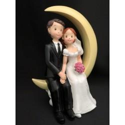 Coppia sposi in resina su mezzaluna. H 18