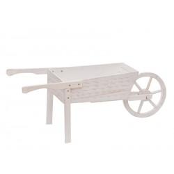 Carriola in legno bianca. CM 128x47 H 50
