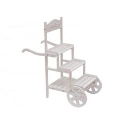 Carretto legno 3 scalini con ruote. CM 93x45 H 95