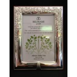 Portafoto argento con retro legno e incisione albero della vita. CM 9x13 interno