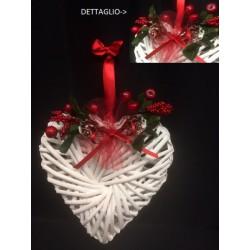 Cuore intrecciato bianco da appendere con decoro natalizio. CM 20x20x6