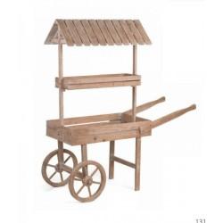 Carretto legno, due ripiani, con tettoia. CM 132x50 H 1.5 m