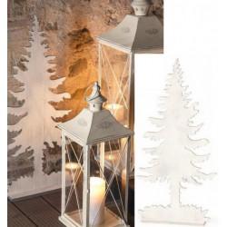 Albero legno bianco con profili glitter argento. H 68