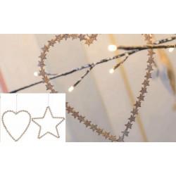Appendino cuore/stella in metallo glitter. Ass 2 H 20