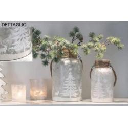 Vaso vetro satinato con manico corda, decori glitte natalizi. Diam. 14 H 25