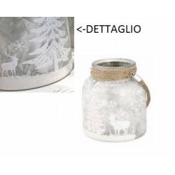 Vaso vetro satinato con manico corda, decori glitter natalizi. Diam. 12 H 12