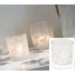 Vasetto vetro satinato con decoro natalizio glitter. Diam. 7 H 8