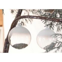 Palla natalizia da appendere in vetro con sabbia champagne all'interno. Diam. 10