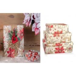 Scatola fondo e coperchio cartoncino con decoro stelle natalizie. CM 24x20 H 9.5