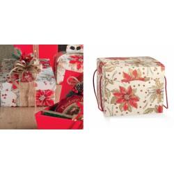 Scatola cartoncino con decoro stelle natalizie e manici. CM 24.5x24.5 H 18