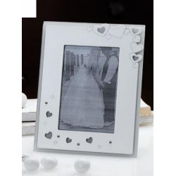Portafoto vetro e legno con cuoricini e strass con scatola. CM 10x15 (interno)