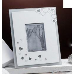 Portafoto vetro e legno con cuoricini e strass con scatola. CM 17x14 (Esterno) CM 6X9 Interno