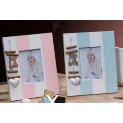 Portafoto legno rosa o azzurro con pendaglio orsetto. CM 15x13 (ESTERNO)
