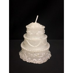 Candela forma torta nuziale, colore perlato. Diam. base CM 6.5 H 6.5