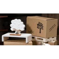 Albero gesso profumatore con scatola, profumo e sassi decorativi. H 16