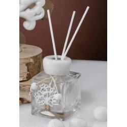 Profumatore vetro con tappo ceramica e applicazione albero. H 9