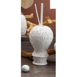 Profumatore ceramica bianca forma mongolfiera. H 11