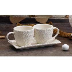 Coppia tazze ceramica bianca con piattino. CM 15
