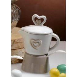 Set tazzina e zuccheriera ceramica forma caffettiera. H 14