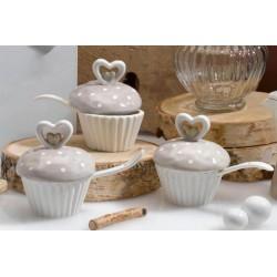 Zuccheriera ceramica forma cupcake. tortora  H 9