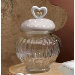 Barattolo vetro con tappo ceramica doppio cuore. H 14