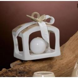 Lanterna ceramica con fiocco. H 9