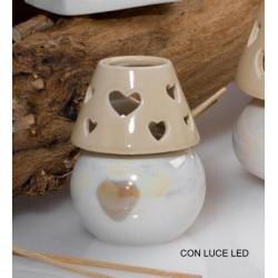 Profumatore ceramica con luce LED. H 8