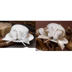 Sacchetto forma cappello con applicazione farfalla. Diam. 10