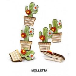 Set 6 mollette legno con cactus. CM 6