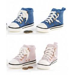 Scarpa da ginnastica salvadanaio in resina, rosa o azzurro. CM 14 ass.2