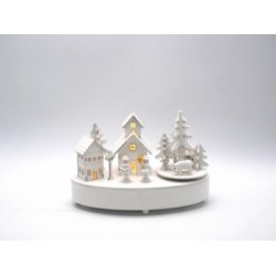 Paesaggio legno bianco con carillon e luce. CM 21.5x11 H 15