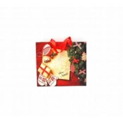 Borsa carta natalizia. CM 18x8 H 23