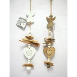 Appendino legno con angelo e cuore. CM 10 H 32
