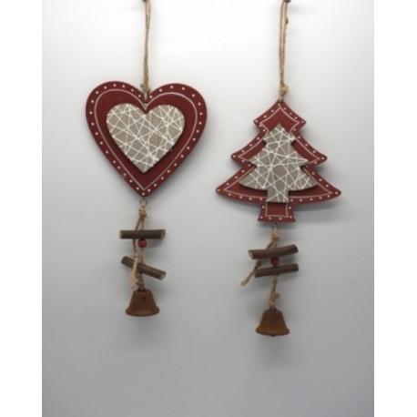Appendino legno rosso e naturale e campanella. Ass 2. CM 18x10