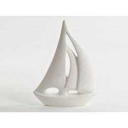 Barca vela ceramica bianca CM 18 H 24