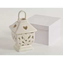 Lanterna porcellana traforata con scatola. CM 9.5 H 11