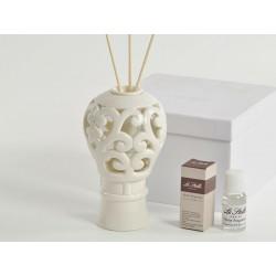 Profumatore mongolfiera porcellana traforata con scatola. CM 9.5 H 15 + profumo