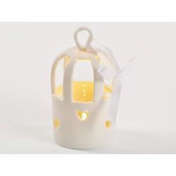Gabbietta bianca ceramica con luce LED da appendere. CM 11x7