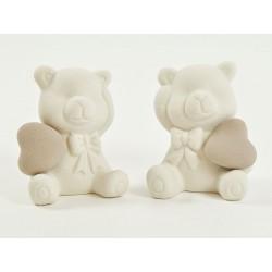 Orso ceramica con cuore. Ass 2. H 10