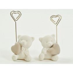 Orso ceramica con cuore e memo clip. Ass 2. H 11
