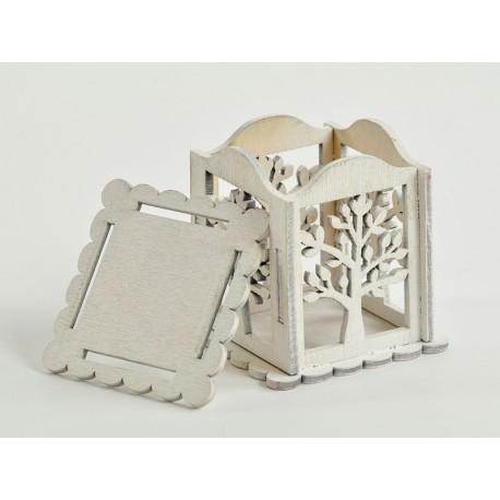 Scatola legno traforata bianca con albero cm 6x6 assisi - Scatole porta viti ...