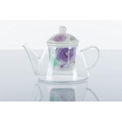 Teiera vetro con filtro ceramica fiori.
