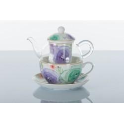 Teiera vetro con tazze e filtro ceramica floreale.