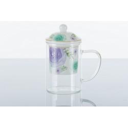 Tisaniera vetro con filtro e coperchio ceramica.