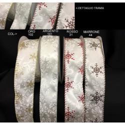 Nastro animato in tessuto damascato con fiocchi neve glitter. MT 10 MM 40